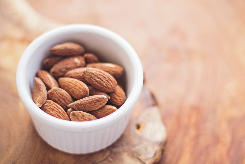 Almonds in dish