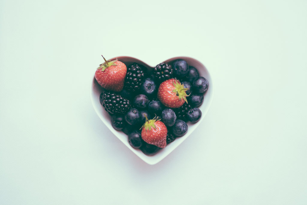 Fruit in a heart shaped bowl
