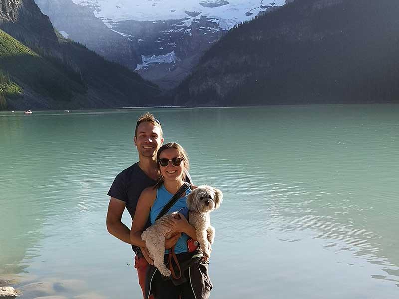 James and Lynn Aster Wellness lake and dog